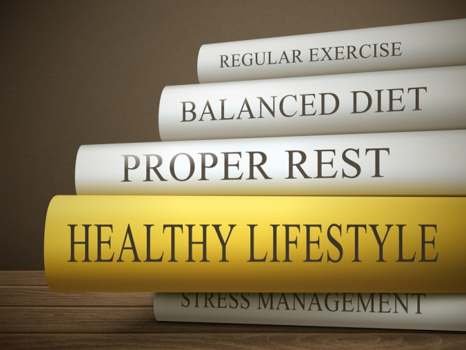 a group of books with titles which describe a healthy lifestyle