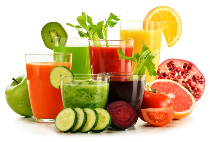 A range of fresh vegetable juices
