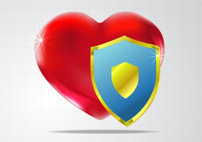 Heart with a protective sheild image on top
