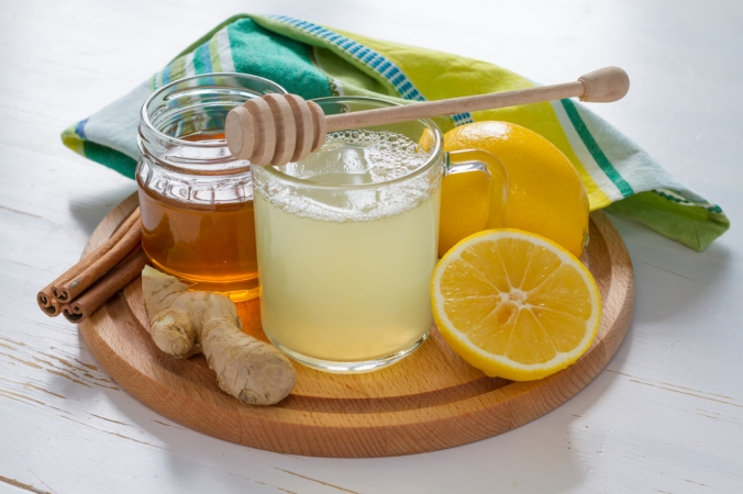 A warming drink of honey, lemon and ginger