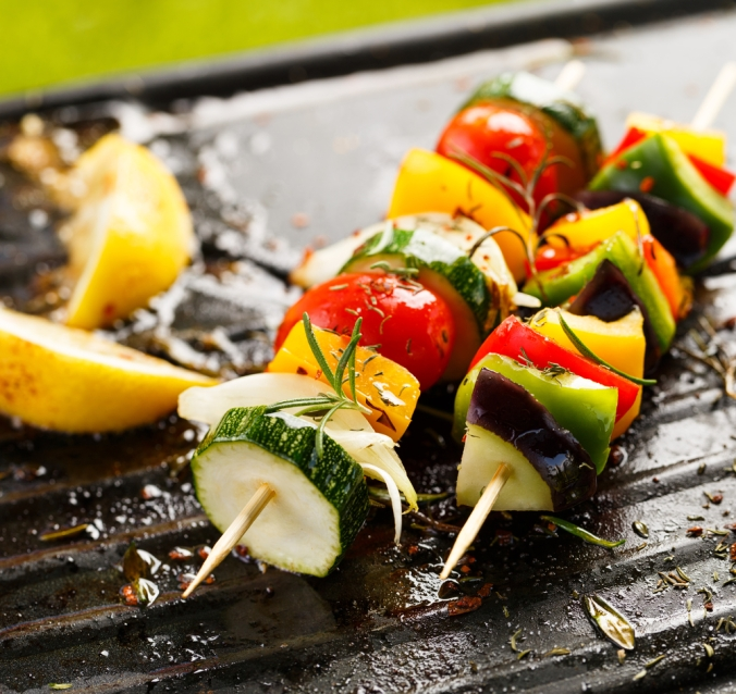 Vegetable skewers on a barbeque