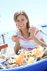 shutterstock_292626194 woman eating oysters at the beach Sept15