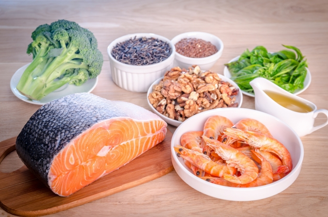 A range of foods containing omega-3 fats