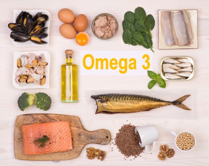 A range of foods containig omega 3 fats