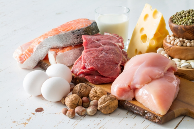 A range of high protein foods