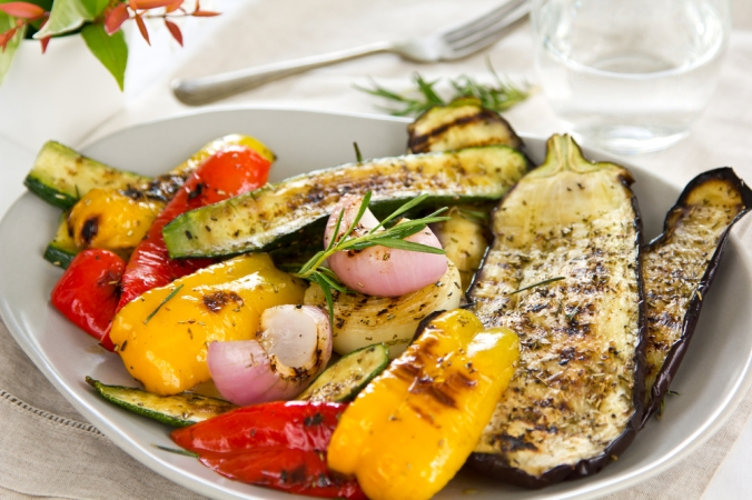 A colourful grilled vegetable salad with aubergine