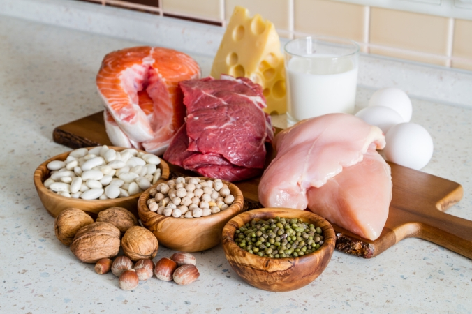 A range of foods containing protein