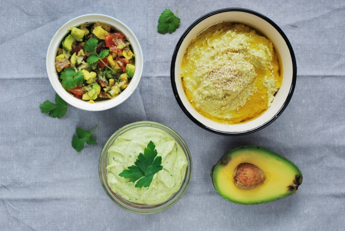 Avocado, guacamole and avocado salsa