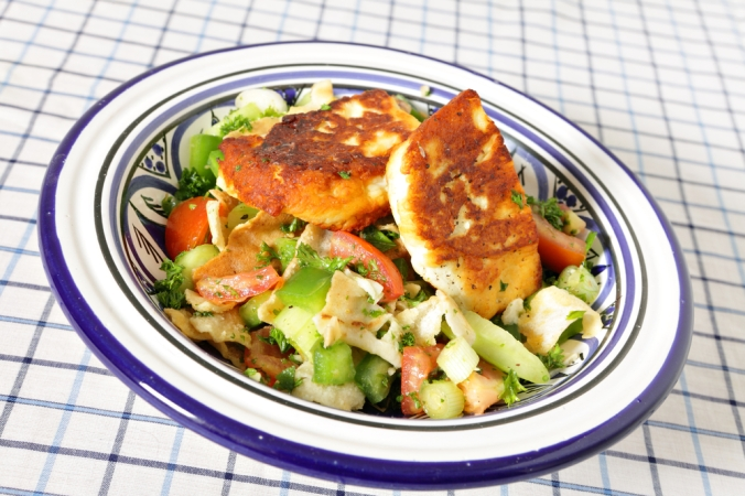 Halloumi on a salad
