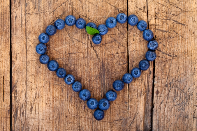 Blueberries in a heart shape