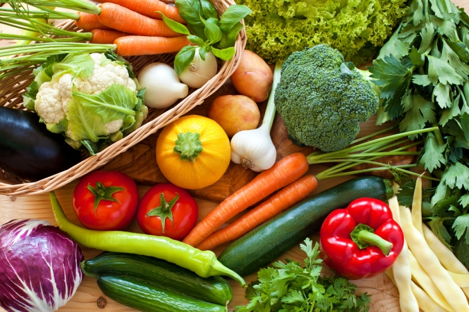 A range of vegetables to represent fibre in the diet