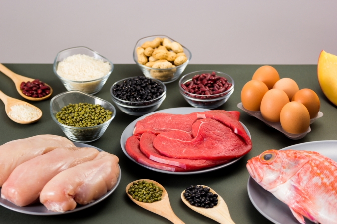 A range of food high in protein