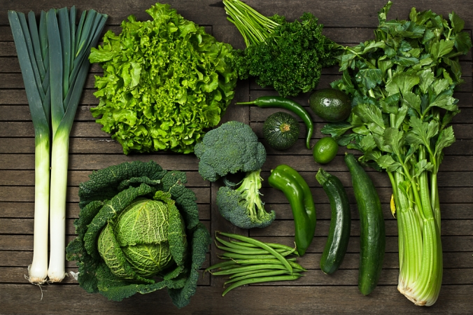 A range of green vegetables