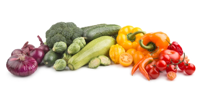 A selection of fruit and vegetables covering all colours of the rainbow