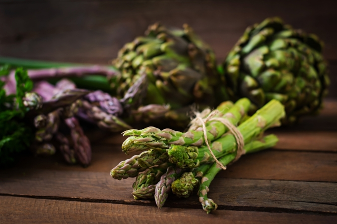 Asparagus tied in a bunch