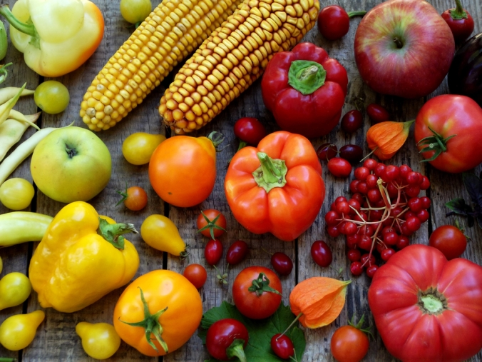 A rnage of colourful fruit and vegetables