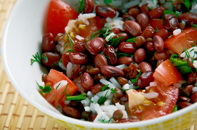 Bean and rice salad stew
