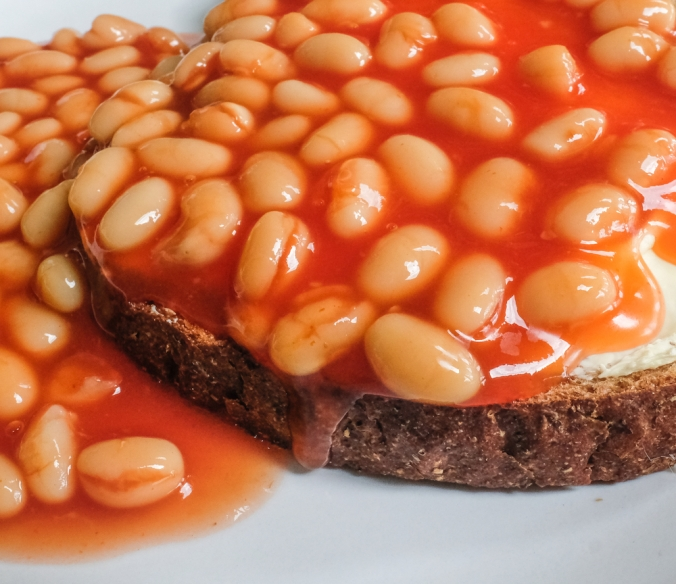 CLose up of baked beans on toast