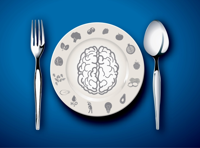 A plate with a picture of a brain on to represent eating healthily to support a sharper brain
