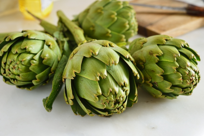 Close up of artichokes