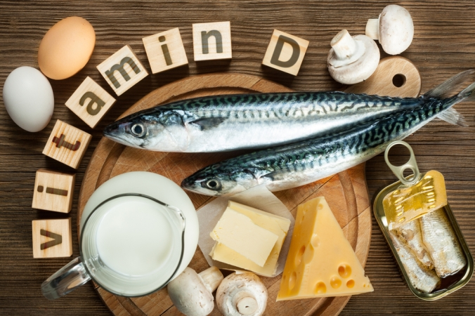 A range of foods containing vitamin D