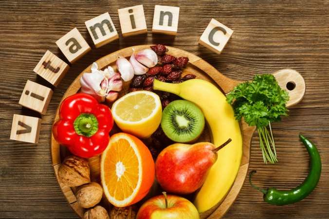 A selection of fruit and vegetables high in Vitamin C