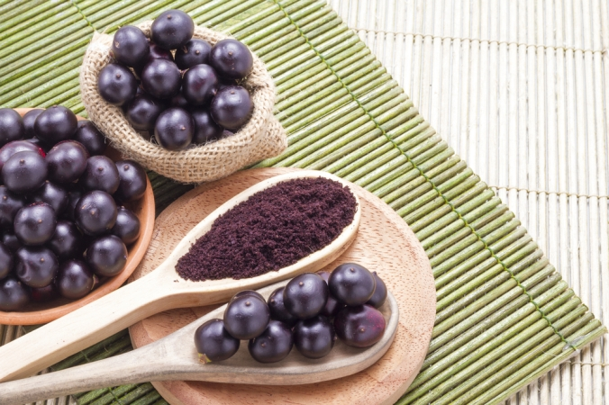 Acai berries in a bowl and a spoon of acai berry powder