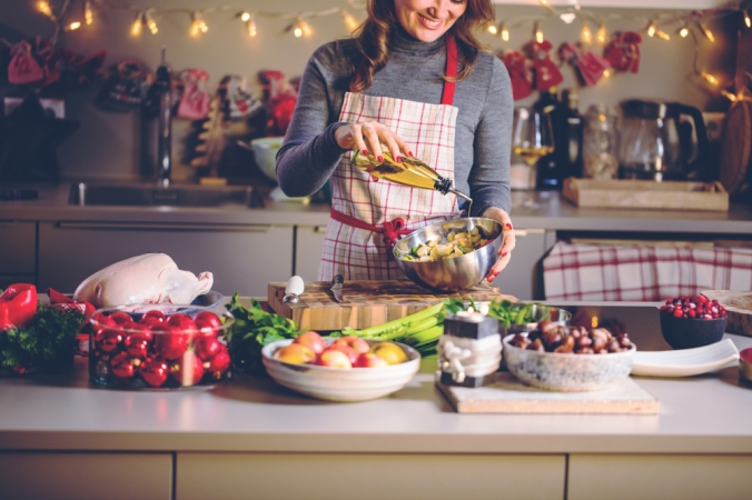 Woman preparing christmas dinner