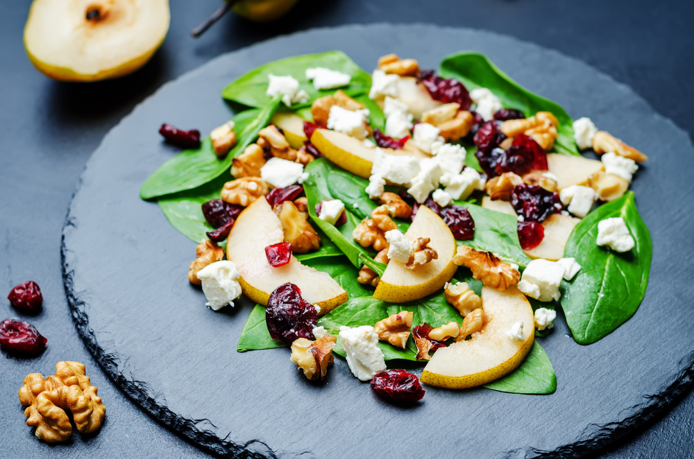 Pear, goats cheese and walnut salad