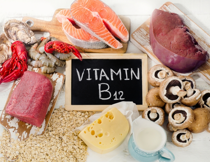 A range of foods containing Vitamin B12