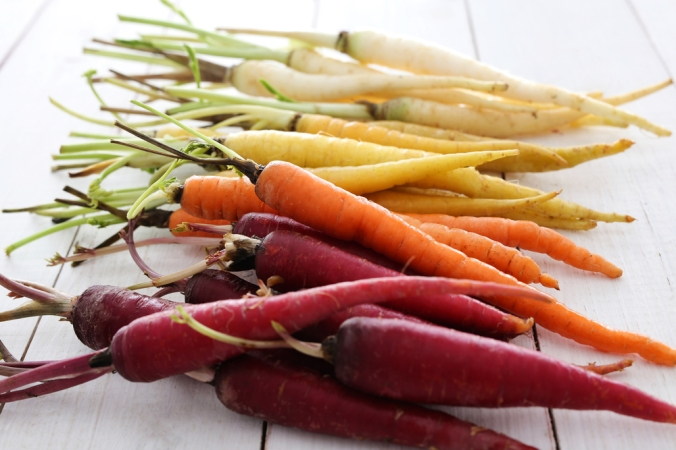 A selection of rainbow carrots
