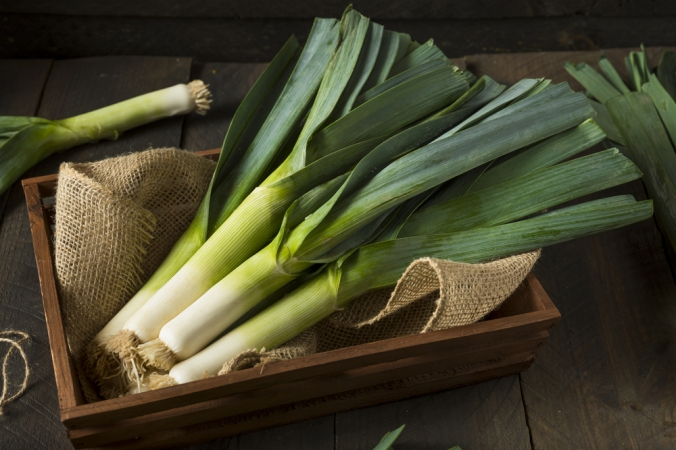 Leeks in a wooden trough
