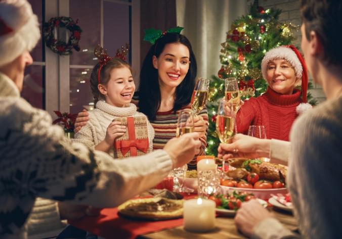 A family eating christmas dinner