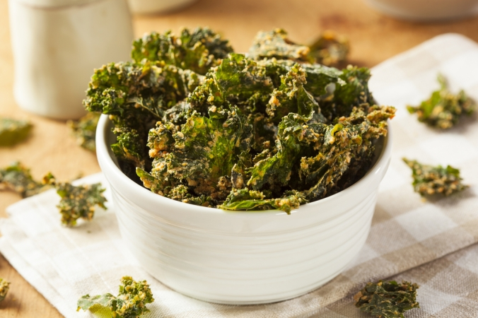 Home made kale chips in a dish