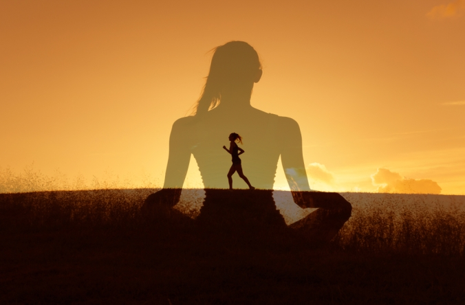 DOuble exposure image of a woman running and meditating to represent healthy lifestyle