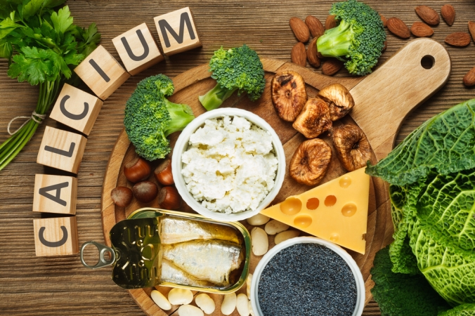 A range of foods containing calcium