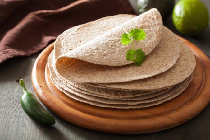 A plate of whole grain tortillas