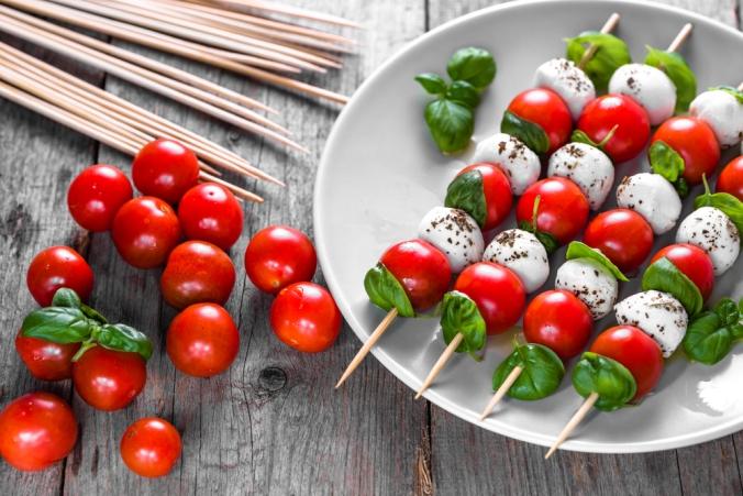 Tomato mozzarella and basil skewers