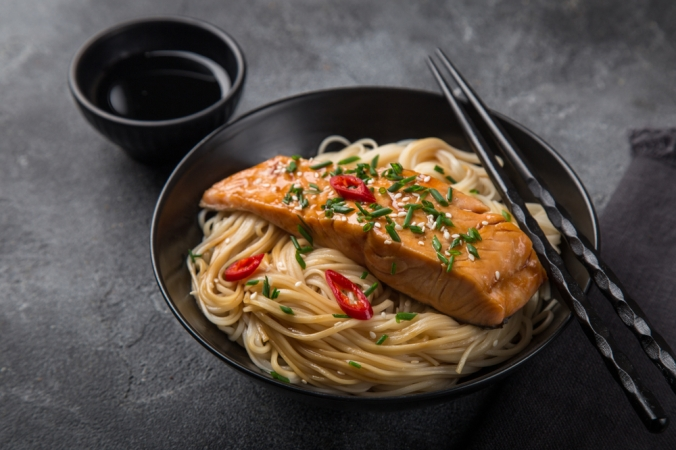 Salmon and noodle stir fry