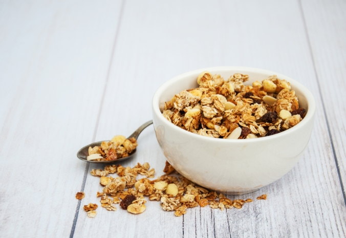 A bowl of home made granola