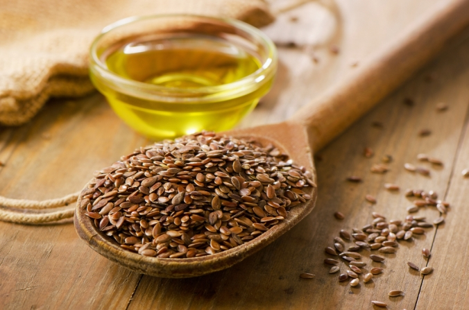 A spoon full of flax seeds