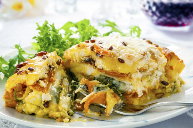 A portion of vegetarian lasagne