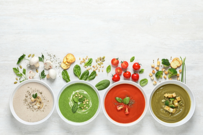 A range of bowls of soup