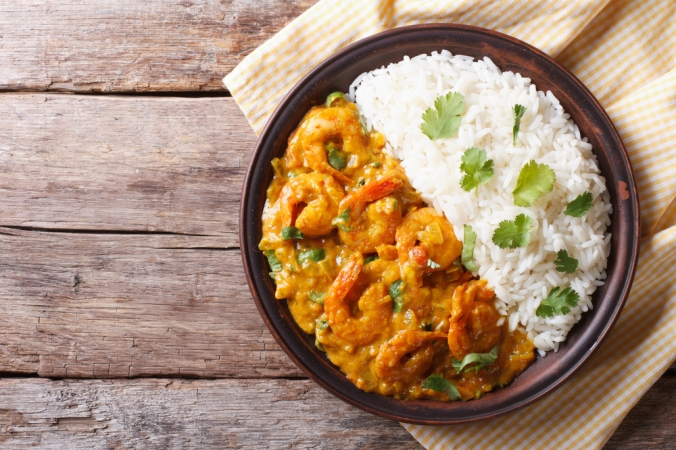 Curry dish and rice