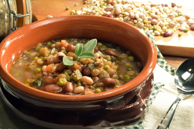 A bowl of mixed bean soup