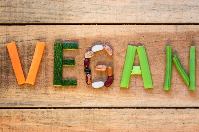 The word 'vegan' spelt out using plant-based foods