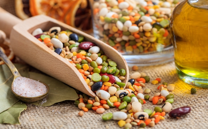 A pile of different beans and pulses