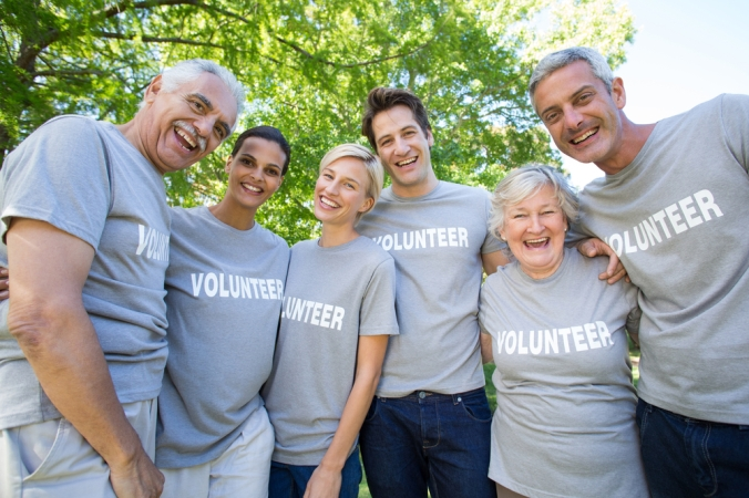 A group of happy volunteers