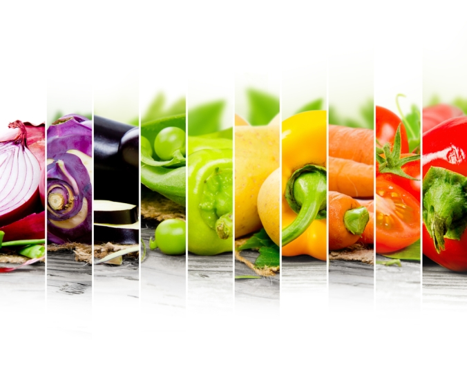 A range of colourful fruit and veg rainbow