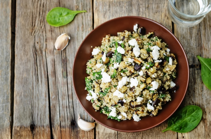 Quinoa and bulgar wheat salad with feta